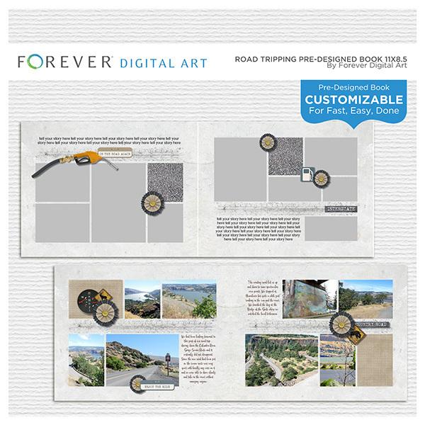 Road Tripping Pre-designed Book 11x8.5 Digital Art - Digital Scrapbooking Kits
