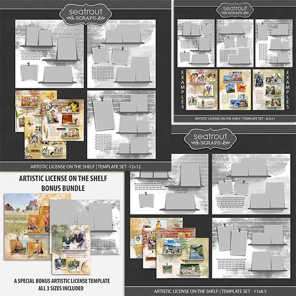 Artistic License On the Shelf Template Set Bonus Bundle Digital Art - Digital Scrapbooking Kits