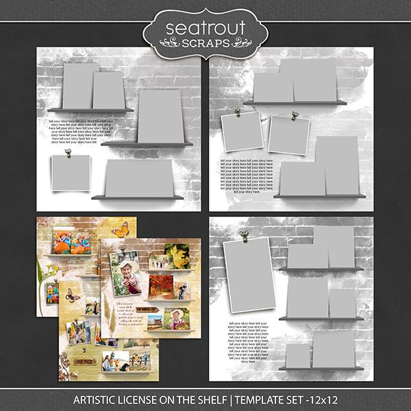 Artistic License On the Shelf Template Set 12x12 Digital Art - Digital Scrapbooking Kits