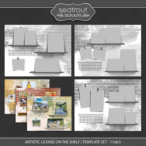 Artistic License On the Shelf Template Set 11x8.5 Digital Art - Digital Scrapbooking Kits