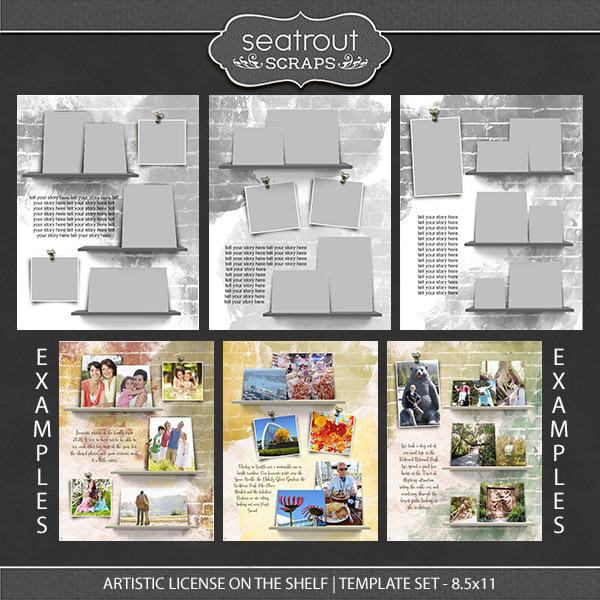 Artistic License On the Shelf Template Set 8.5x11 Digital Art - Digital Scrapbooking Kits