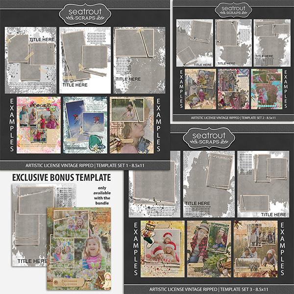 Artistic License Vintage Ripped Bonus Bundle 8.5x11 Digital Art - Digital Scrapbooking Kits