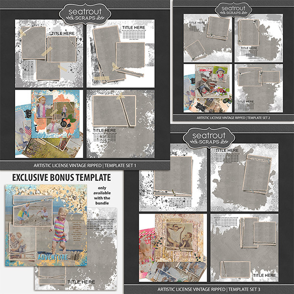 Artistic License Vintage Ripped Bonus Bundle 12x12 Digital Art - Digital Scrapbooking Kits