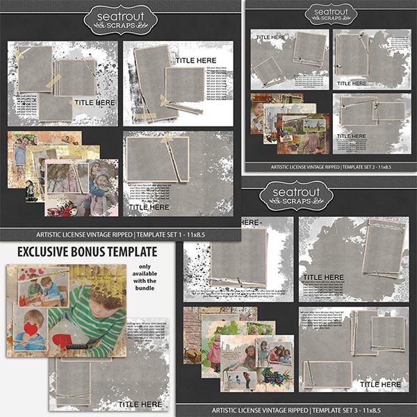 Artistic License Vintage Ripped Bonus Bundle 11x8.5 Digital Art - Digital Scrapbooking Kits