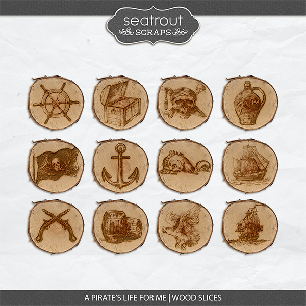 A Pirate's Life for Me Wood Slices Digital Art - Digital Scrapbooking Kits