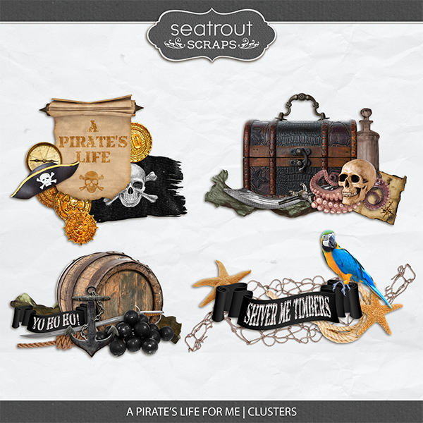 A Pirate's Life for Me Clusters Digital Art - Digital Scrapbooking Kits