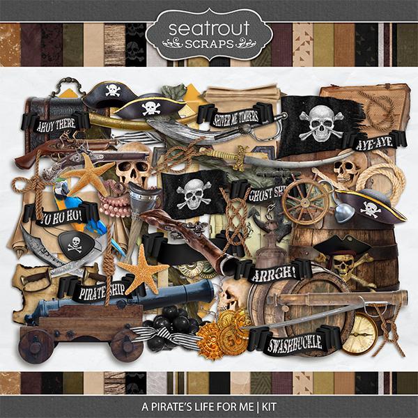 A Pirate's Life for Me Kit Digital Art - Digital Scrapbooking Kits