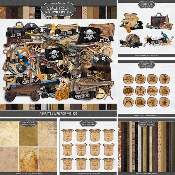 A Pirate's Life for Me Bundle Digital Art - Digital Scrapbooking Kits