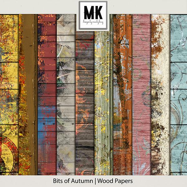 Bits of Autumn - Wood Papers Digital Art - Digital Scrapbooking Kits