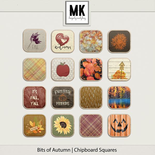Bits of Autumn - Chipboard Squares Digital Art - Digital Scrapbooking Kits