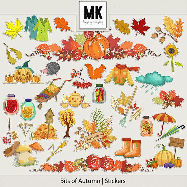 Bits of Autumn - Stickers Digital Art - Digital Scrapbooking Kits