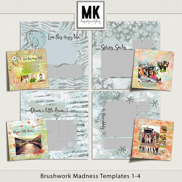 Brushwork Madness Templates 1-4 Digital Art - Digital Scrapbooking Kits