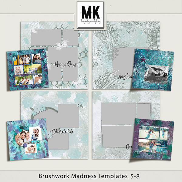 Brushwork Madness Templates 5-8 Digital Art - Digital Scrapbooking Kits
