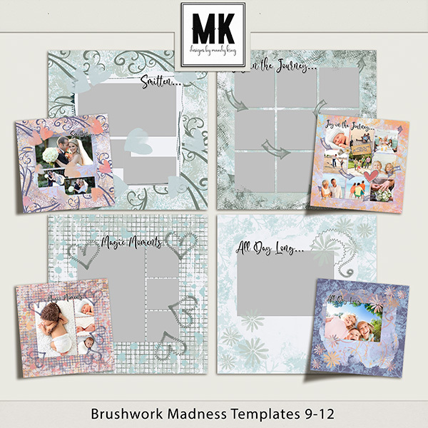 Brushwork Madness Templates 9-12 Digital Art - Digital Scrapbooking Kits