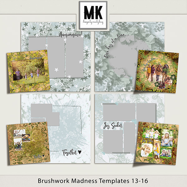 Brushwork Madness Templates 13-16 Digital Art - Digital Scrapbooking Kits