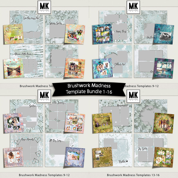 Brushwork Madness Template Bundle 1-16 Digital Art - Digital Scrapbooking Kits