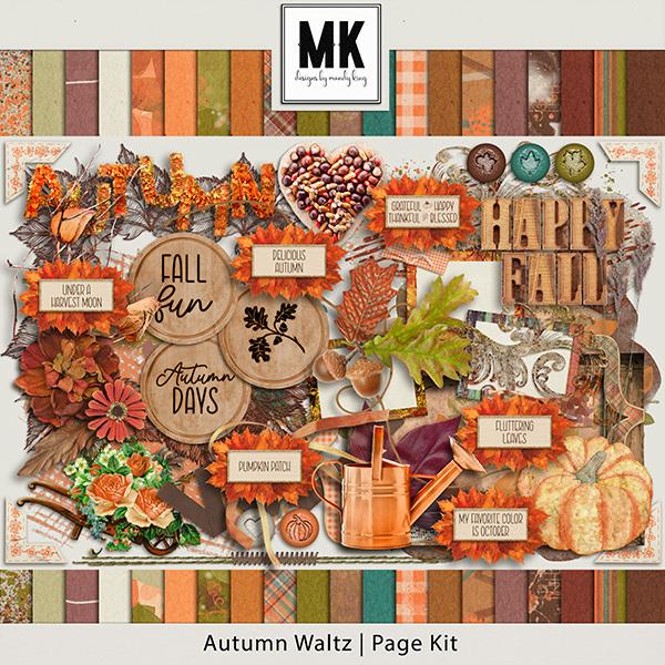 Autumn Waltz Page Kit Digital Art - Digital Scrapbooking Kits