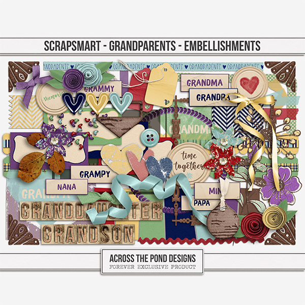 ScrapSmart - Grandparents - Embellishments Digital Art - Digital Scrapbooking Kits