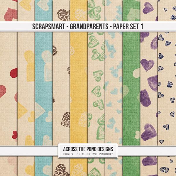 ScrapSmart - Grandparents - Paper Set 1 Digital Art - Digital Scrapbooking Kits
