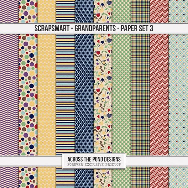 ScrapSmart - Grandparents - Paper Set 3 Digital Art - Digital Scrapbooking Kits