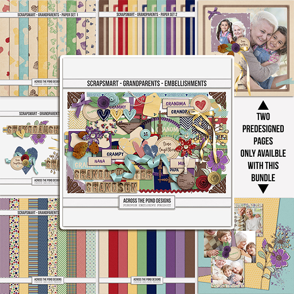ScrapSmart - Grandparents - Bundle Digital Art - Digital Scrapbooking Kits