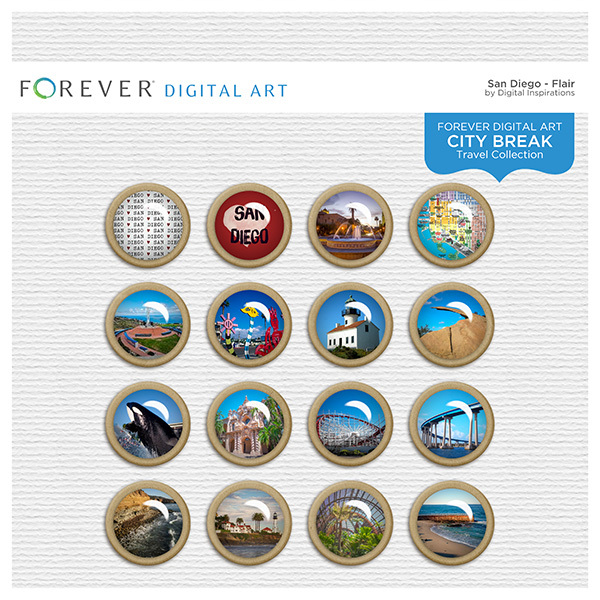 City Break - San Diego - Flair Digital Art - Digital Scrapbooking Kits