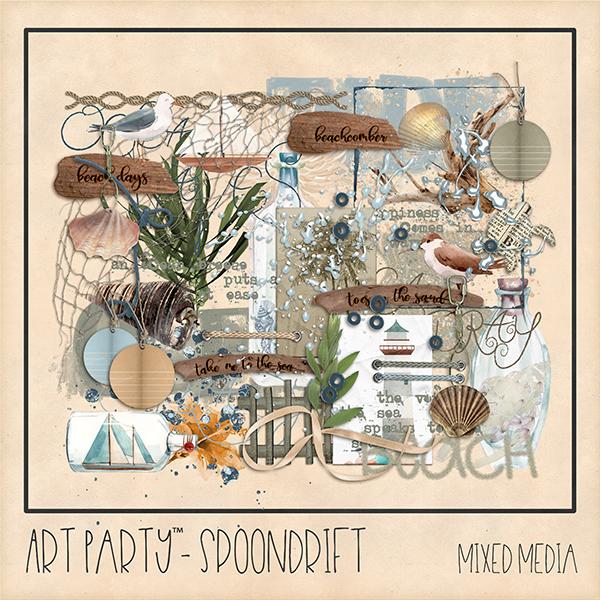 Spoondrift Mixed Media Embellishments Digital Art - Digital Scrapbooking Kits