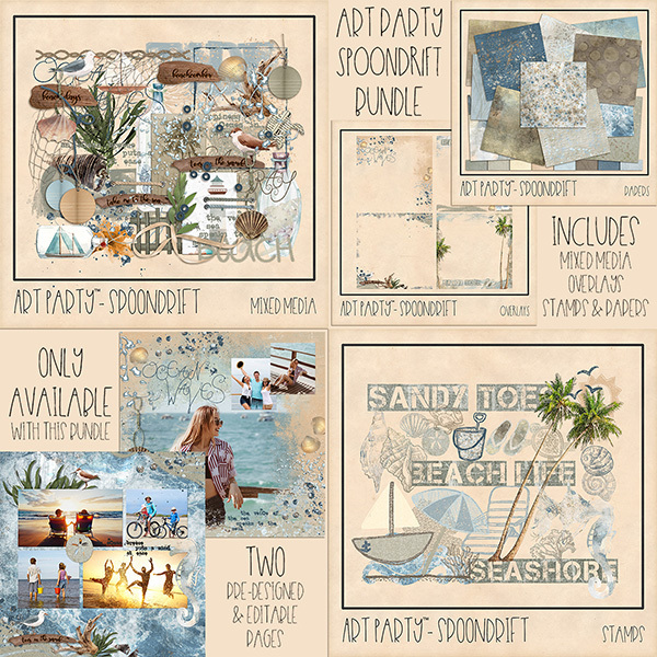 Spoondrift Complete Collection Digital Art - Digital Scrapbooking Kits