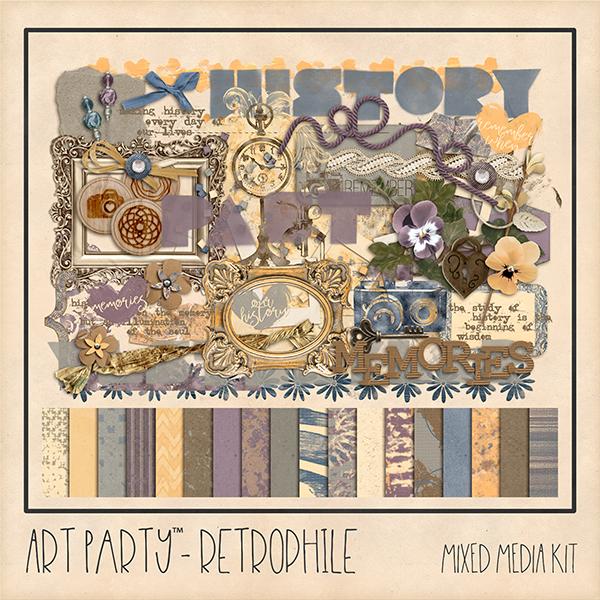 Retrophile Mixed Media Kit Digital Art - Digital Scrapbooking Kits