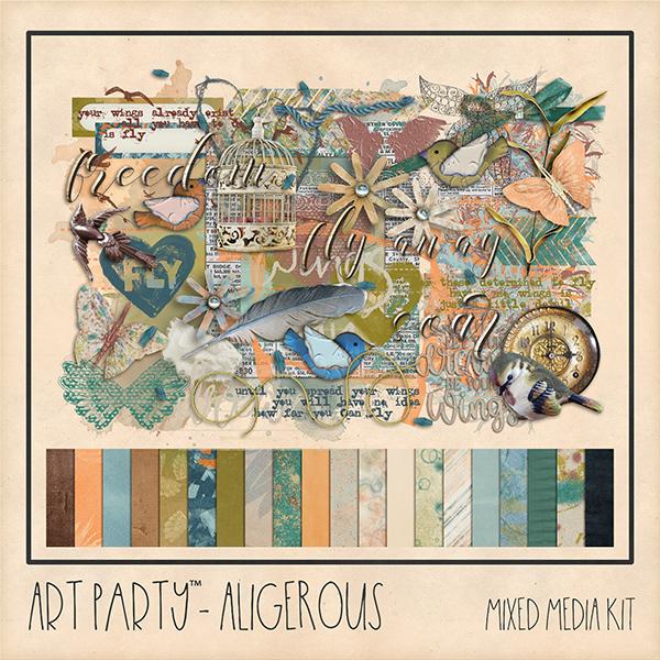 Aligerous Mixed Media Kit Digital Art - Digital Scrapbooking Kits
