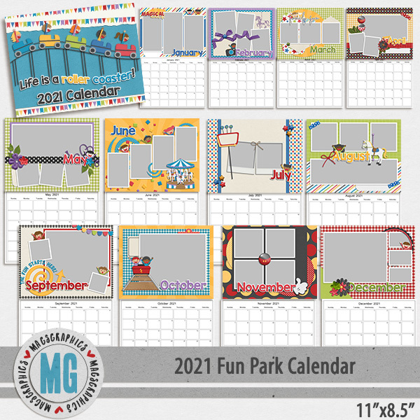 2021 11x8.5 Fun Park Calendar Template Digital Art - Digital Scrapbooking Kits