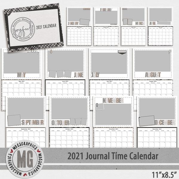 2021 11x8.5 Journal Time Calendar Template Digital Art - Digital Scrapbooking Kits