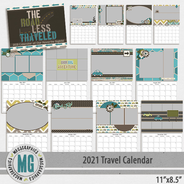 2021 11x8.5 Travel Calendar Template Digital Art - Digital Scrapbooking Kits