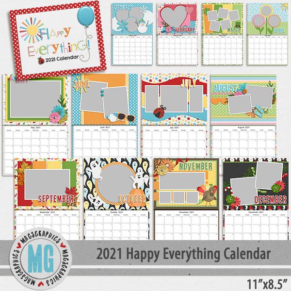 2021 11x8.5 Happy Everything Calendar Template Digital Art - Digital Scrapbooking Kits