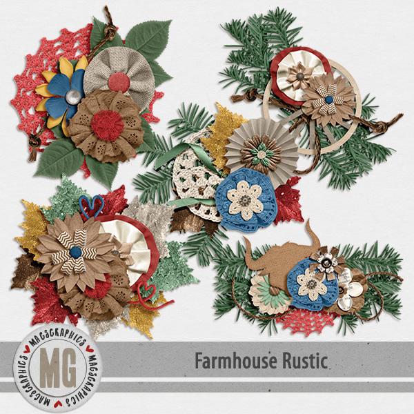 Farmhouse Rustic Clusters Digital Art - Digital Scrapbooking Kits