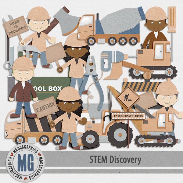 STEM Discovery Construction Pack Digital Art - Digital Scrapbooking Kits