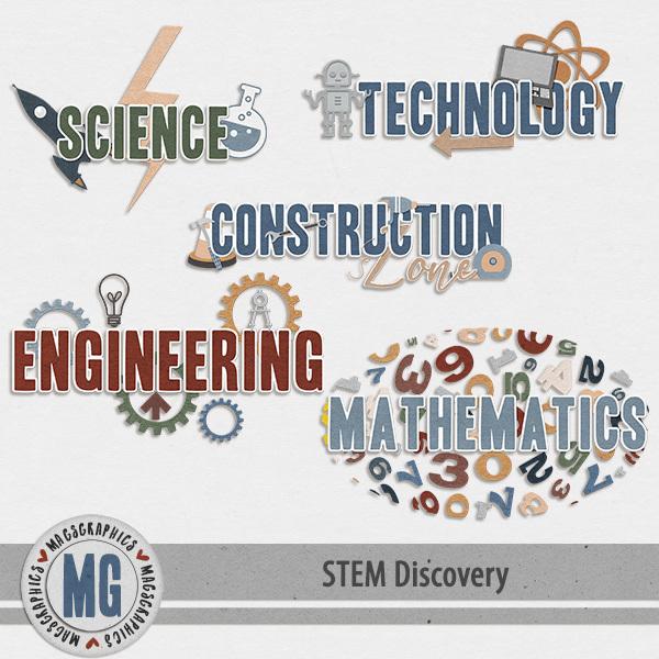 STEM Discovery Word Art Digital Art - Digital Scrapbooking Kits