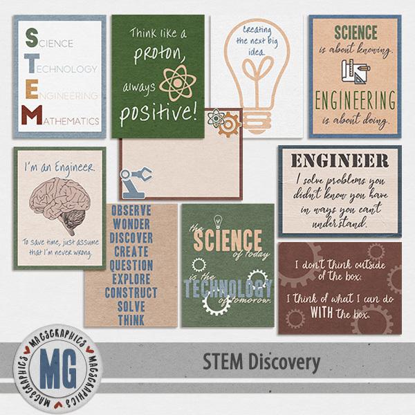 STEM Discovery Journal Cards Digital Art - Digital Scrapbooking Kits