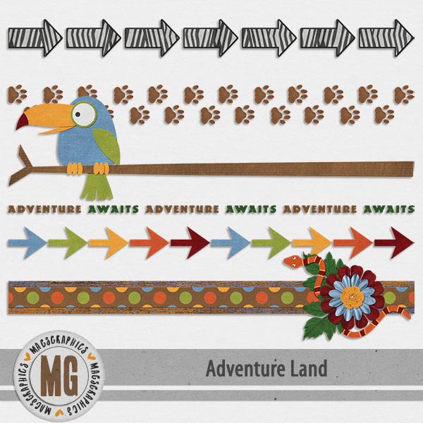 Adventure Land Trims Digital Art - Digital Scrapbooking Kits