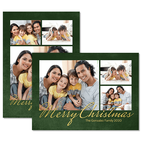 Green and Gold Christmas Card Card