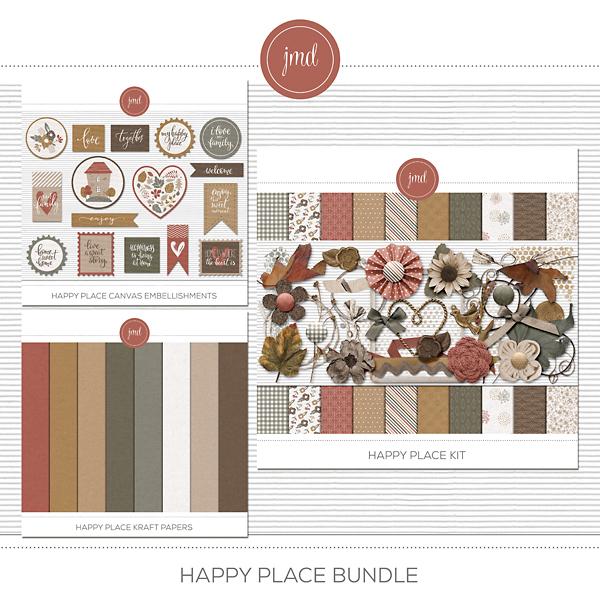 Happy Place Bundle Digital Art - Digital Scrapbooking Kits