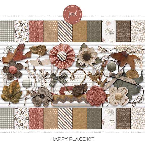 Happy Place Kit Digital Art - Digital Scrapbooking Kits