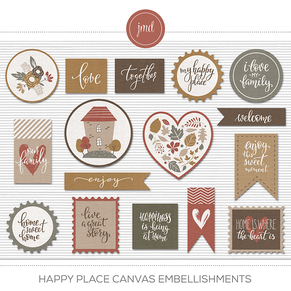 Happy Place Canvas Embellishments Digital Art - Digital Scrapbooking Kits