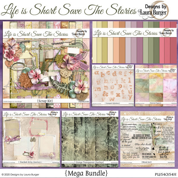 Life Is Short Save the Stories Mega Bundle Digital Art - Digital Scrapbooking Kits