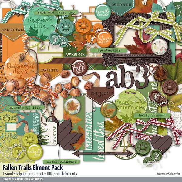 Fallen Trails Element Pack Digital Art - Digital Scrapbooking Kits