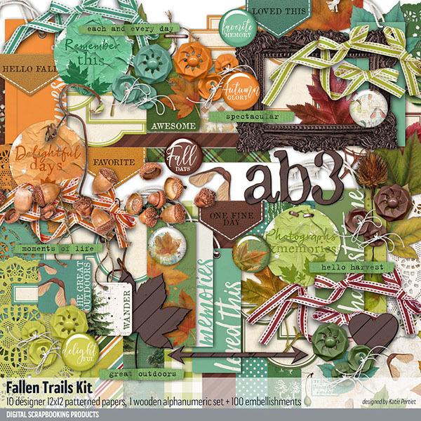 Fallen Trails Scrapbooking Kit Digital Art - Digital Scrapbooking Kits