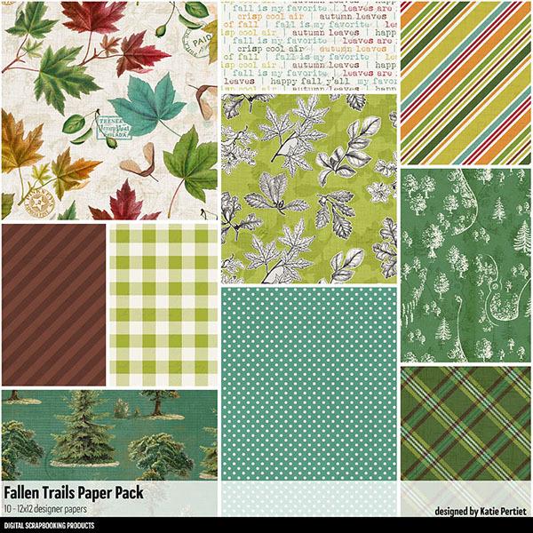 Fallen Trails Paper Pack Digital Art - Digital Scrapbooking Kits