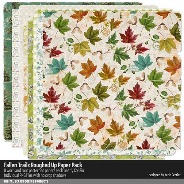 Fallen Trails Roughed Up Paper Pack Digital Art - Digital Scrapbooking Kits