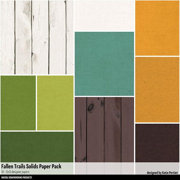 Fallen Trails Solids Paper Pack Digital Art - Digital Scrapbooking Kits