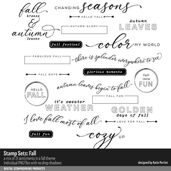 Stamp Sets Fall Digital Art - Digital Scrapbooking Kits